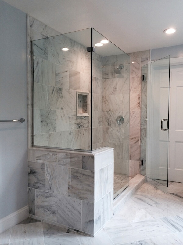 Frameless Clear Tempered Gl Corner Shower Enclosure Installed With Channels