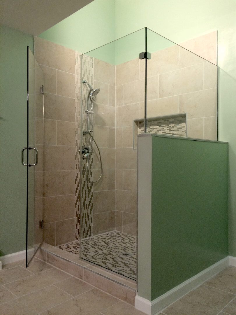 frameless corner shower enclosure with full height panels installed with channels