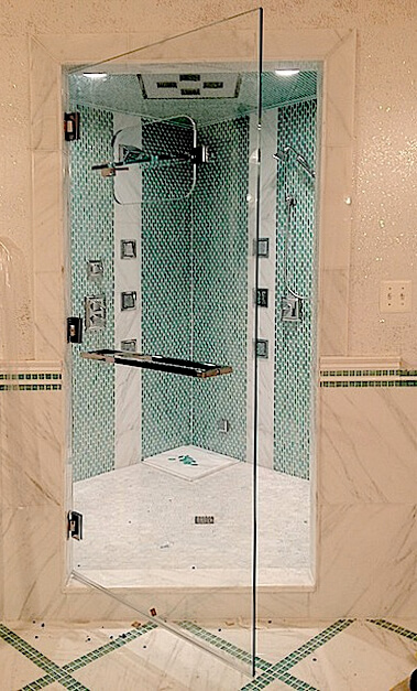 single door with transom for a steam shower