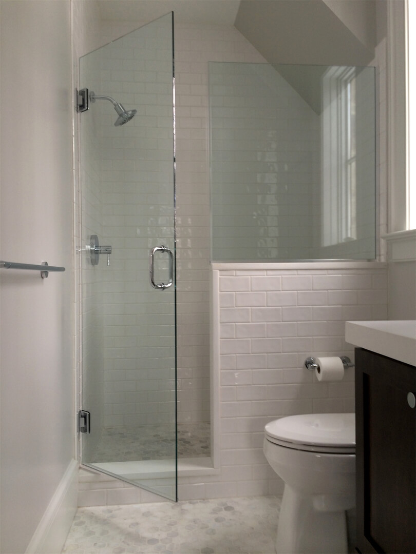 Half Wall Glass Shower Partition Glass Decorating Ideas