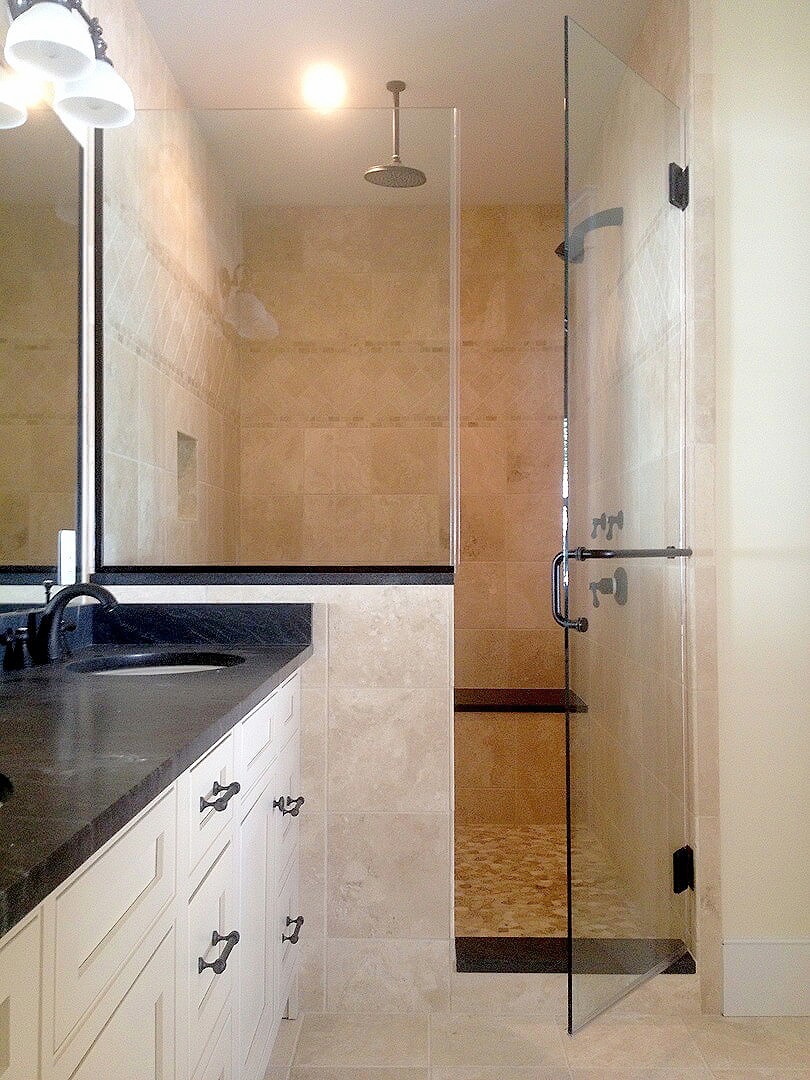 Superior ... Inline Shower Enclosure With Half Wall Panel And Towel Bar/handle Combo  ...