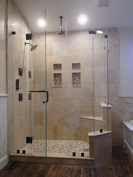 neo angle shower door enclosure; clips, glass-to-glass hinges