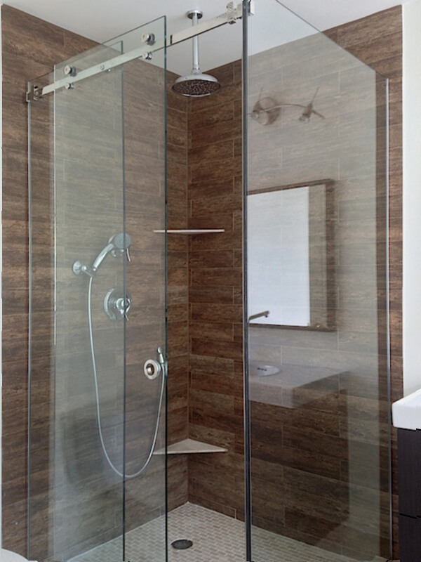 Door Frameless Corner Sliding Shower Gl Enclosure With Two Fixed Panels And One Movable Panel In The